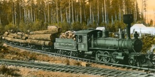 Old picture of logs being transported by the Comox-Campbell Lake Tramway