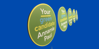Green Party leader Annamie Paul campaign signs