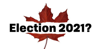 """Maple leaf ripped in half with the words """"Election 2021?"""" in the middle"""