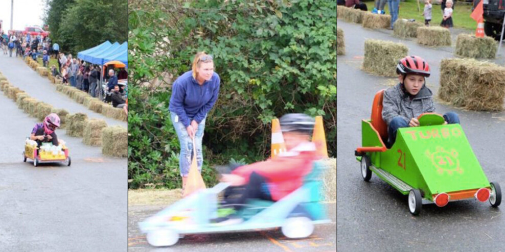 Three photos of kids in rolling down the road in their soap box cars.